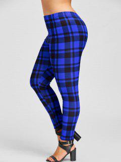Plus Size Plaid Leggings - Blue And Black 5xl