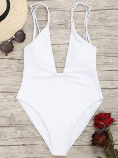 High Cut Plunge Cami Swimwear - White M