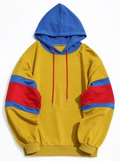 Kangaroo Pocket Color Block Hoodie Men Clothes - Mustard 3xl
