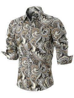 Curved Hem Paisley Print Long Sleeve Shirt - Xl