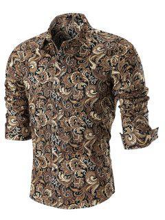 Curved Hem Paisley Print Long Sleeve Shirt - Khaki 5xl