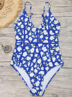 Tiny Floral Cut Out High Leg Swimwear - Blue M