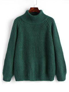 Raglan Sleeve Chunky Turtleneck Sweater - Blackish Green