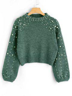 Faux Pearl Mock Neck Sweater - Green M