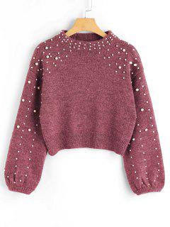 Faux Pearl Mock Neck Pullover - Russisch-rot L