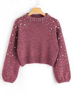 Suéter  De Cuello Garganta Con Perlas Falsas - Castaño-rojo L