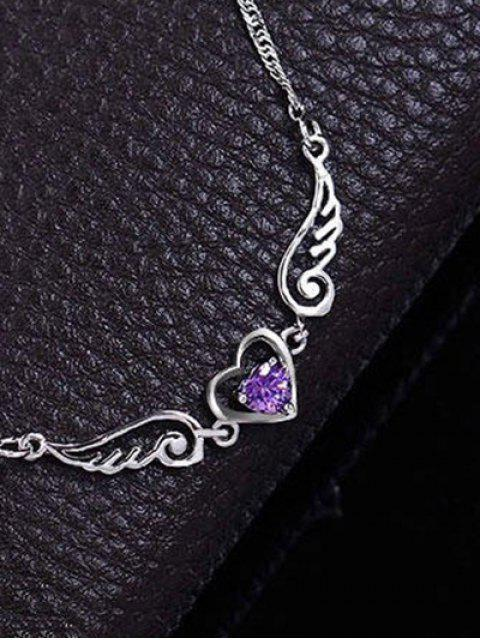 shop Faux Amethyst Heart Angel Wings Necklace - PURPLE  Mobile