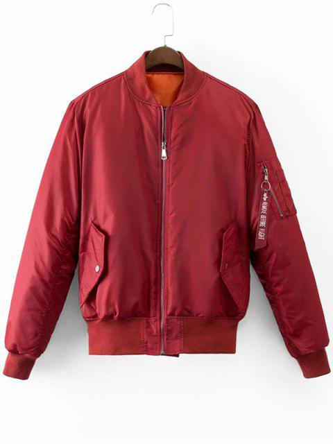 fancy Graphic Back Zip Up Puffer Jacket - DEEP RED L Mobile