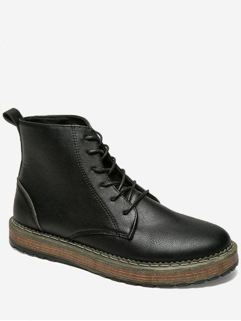 buy PU Leather Lace Up Short Boots -   Mobile