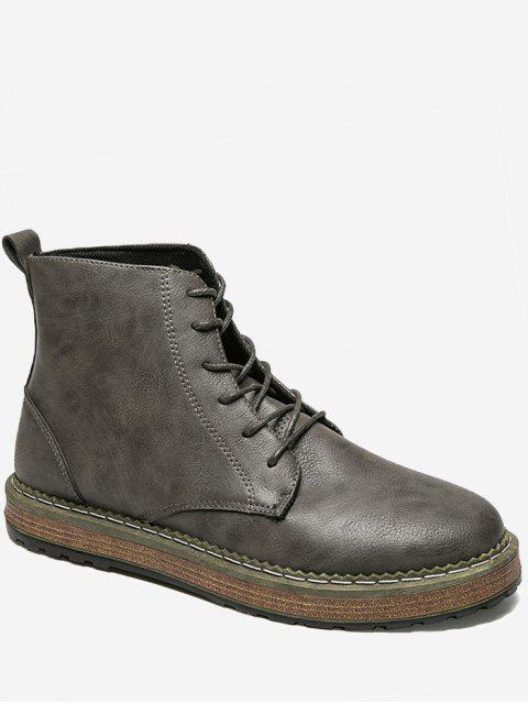 hot PU Leather Lace Up Short Boots - DEEP GRAY 43 Mobile