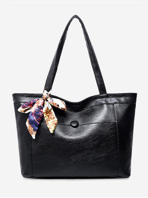 unique Faux Leather Scarf Shoulder Bag - BLACK  Mobile