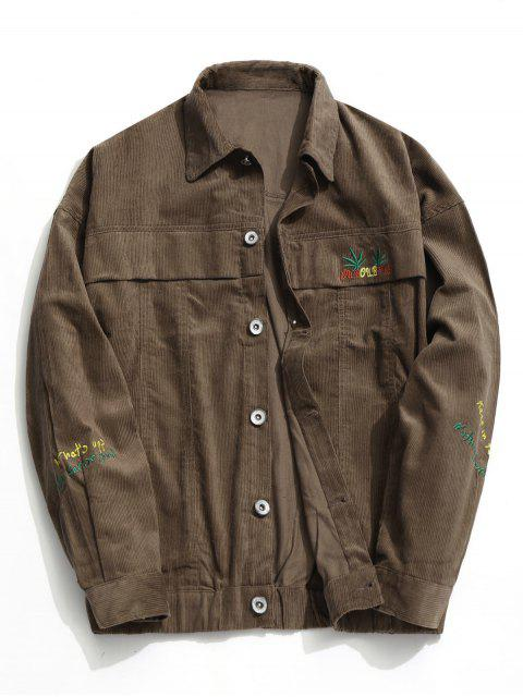 outfit Button Up Corduroy Jacket - COFFEE 4XL Mobile