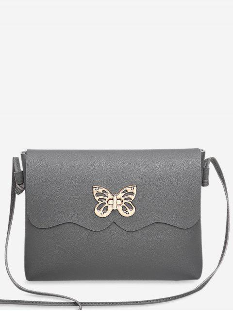 shops Metal Embellished Butterfly Crossbody Bag - GRAY  Mobile