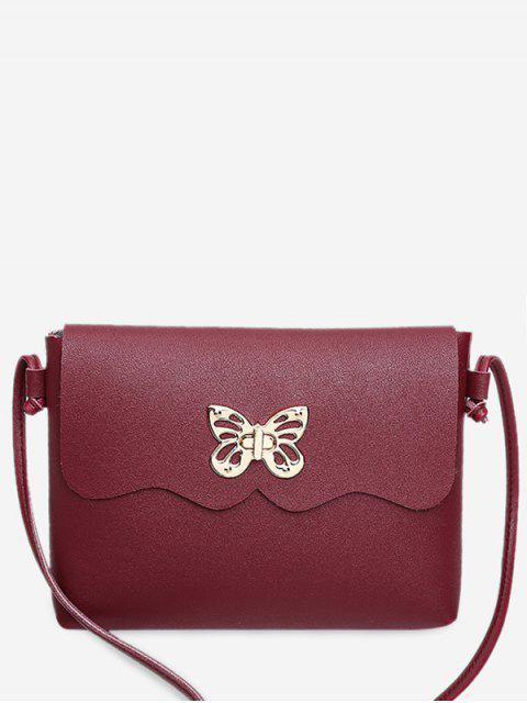 fashion Metal Embellished Butterfly Crossbody Bag - RED  Mobile