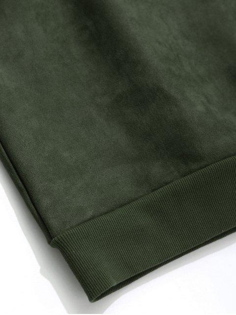 unique Suede Embroidered Crew Neck Sweatshirt - ARMY GREEN 3XL Mobile