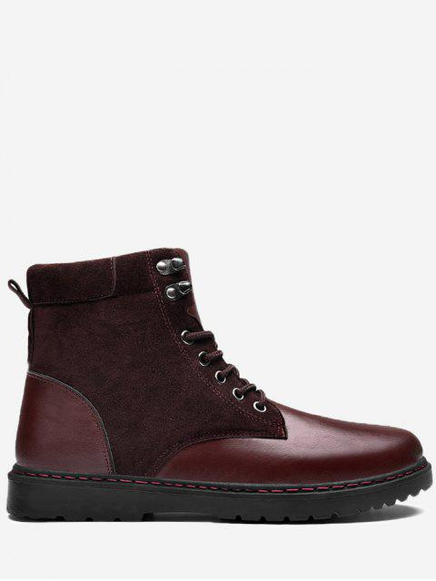affordable Side Zip Lace Up Front Chukka Boots - WINE RED 43 Mobile