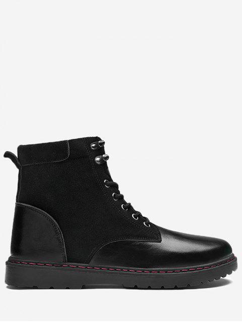 Seitlicher Zip Lace Up Front Chukka Stiefel - Leder schwarz 44 Mobile