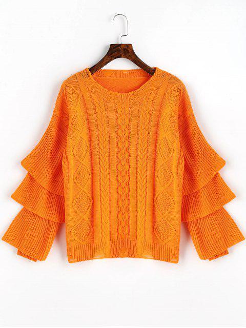 Layered Sleeve Pullover mit Zopfmuster - Orangerot Eine Größe Mobile