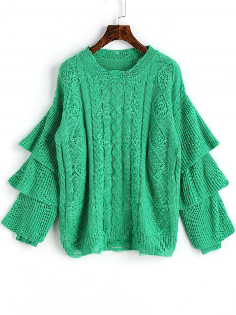 Layered Sleeve Pullover mit Zopfmuster - Grün Eine Größe Mobile