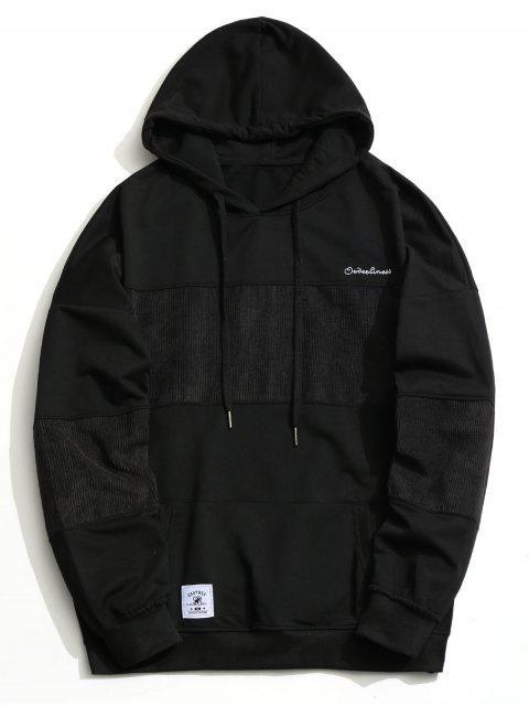 Sudadera con capucha de pana de panel de hombres - Negro L Mobile