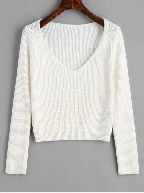 Jersey con cuello en V jersey - Blanco Talla única Mobile