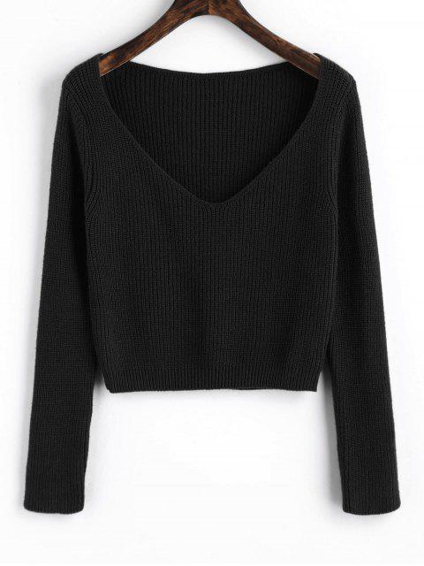 Jersey con cuello en V jersey - Negro Única Talla Mobile