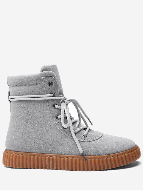 buy Tie Up Rubber Sole Ankle Boots - GRAY 44 Mobile