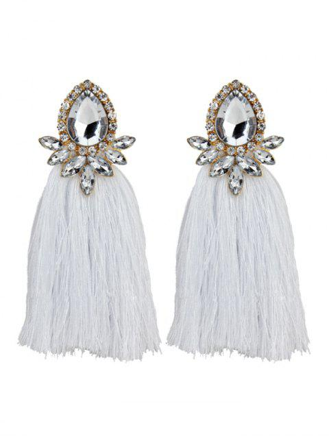 Rhinestoned Faux Gem Teardrop Tassel Earrings - Blanco  Mobile