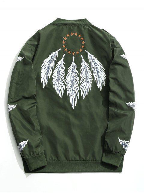 ladies Zipper Feather Print Jacket - GREEN 2XL Mobile