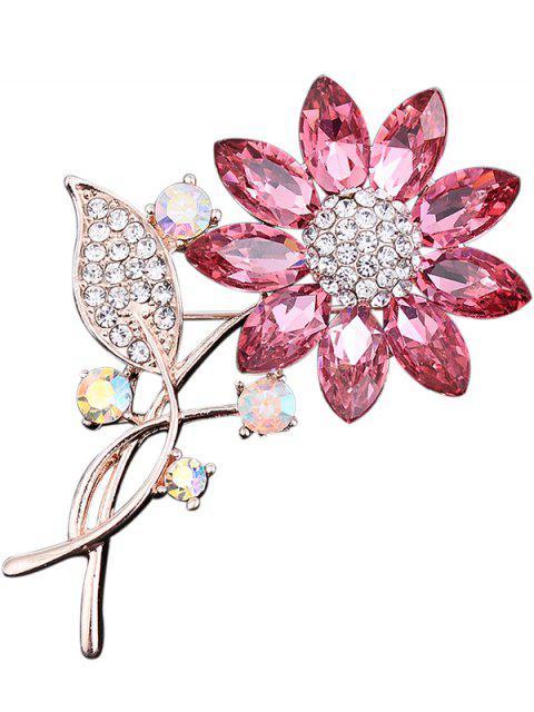 online Rhinestone Faux Crystal Sunflower Leaf Brooch - PINK  Mobile