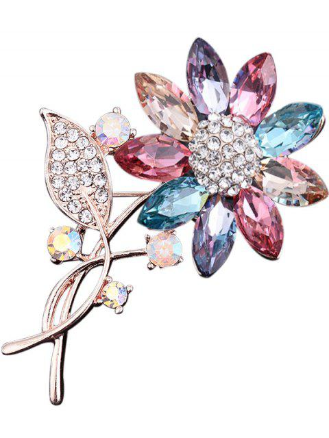 Rhinestone Faux Crystal Sunflower Leaf Brooch - Colormix  Mobile