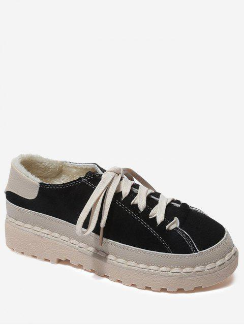 buy Contrasting Color Whipstitch Casual Shoes - BLACK 38 Mobile