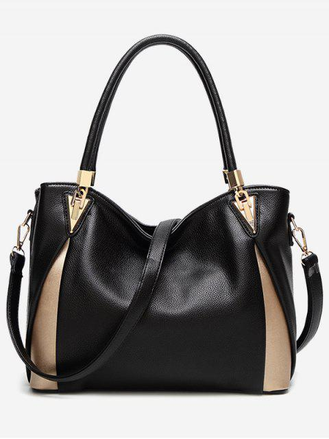 sale PU Leather Color Blocking Shoulder Bag - BLACK  Mobile