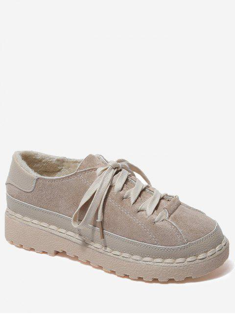 online Contrasting Color Whipstitch Casual Shoes - BROWN 38 Mobile