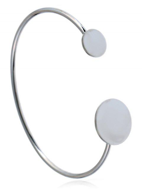 buy Simple Metal Round Cuff Bracelet - SILVER  Mobile