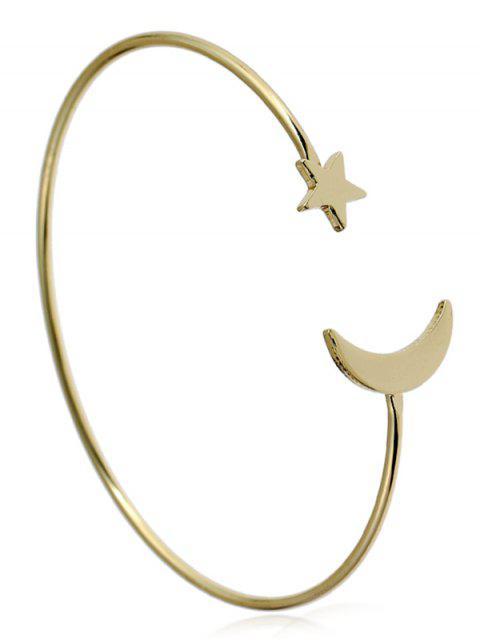 women Alloy Star Moon Circle Cuff Bracelet - GOLDEN  Mobile