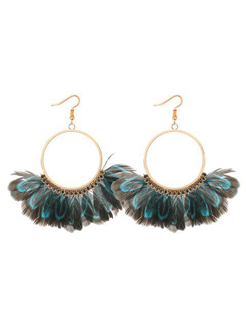 hot Bohemian Feather Circle Earrings - BLUE  Mobile