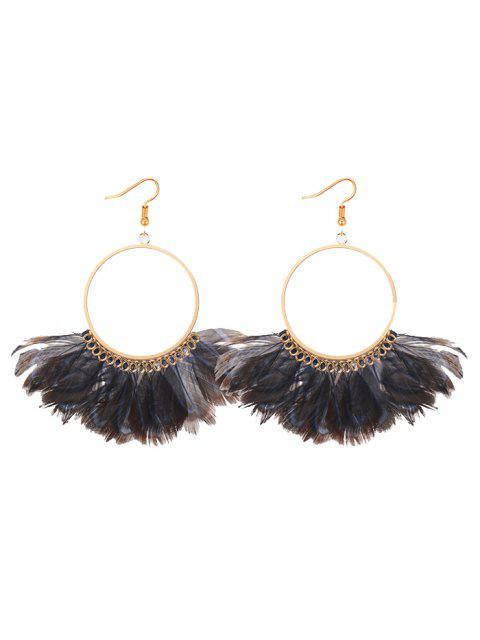 outfit Bohemian Feather Circle Earrings -   Mobile