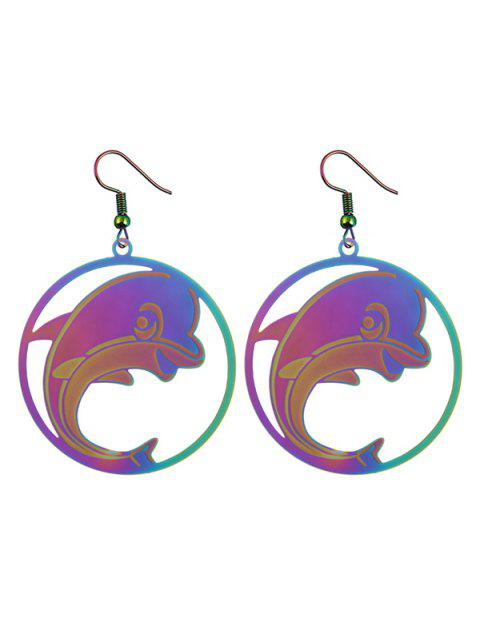 new Stainless Steel Dolphin Circle Hook Earrings -   Mobile