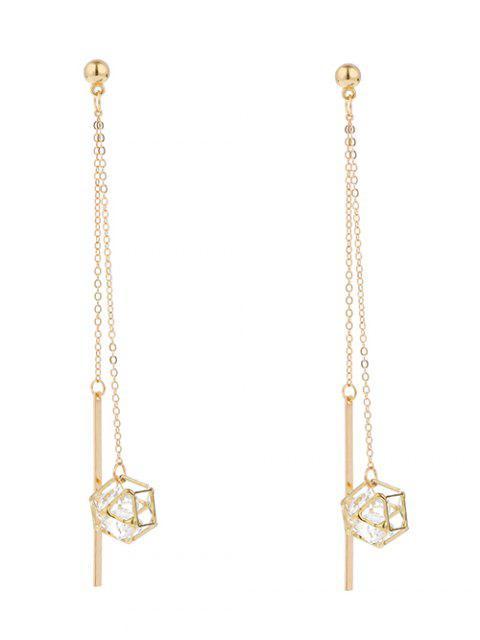 shop Rhinestone Geometric Bar Chain Earrings - GOLDEN  Mobile