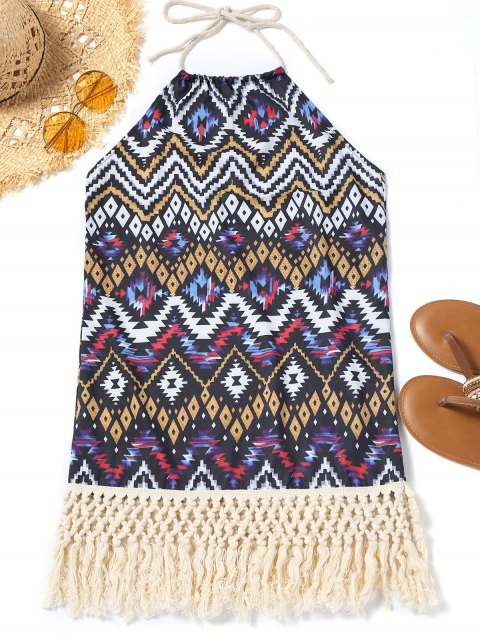 best Halter Zig Zag Tassel Beach Dress - COLORMIX XL Mobile