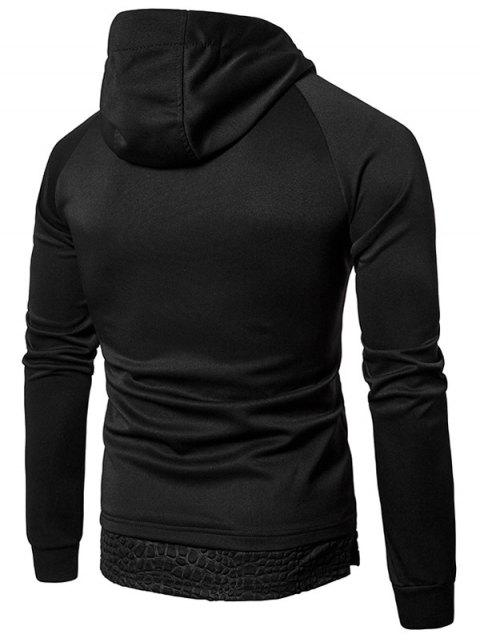 women Hooded Panel Design Pullover Hoodie - BLACK 2XL Mobile