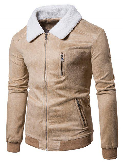 Cuello de piel sintética con costuras Chaqueta de ante con cremallera - Palomino 2XL Mobile