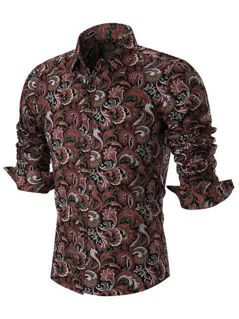Camisa de manga larga con estampado de Paisley - Rojo L Mobile