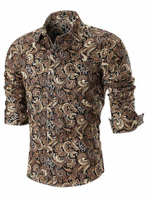 Camisa de manga larga con estampado de Paisley - Caqui XL Mobile