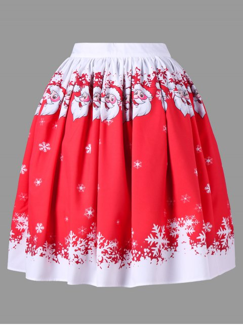 women Plus Size Christmas Santa Claus Swing Skirt - RED XL Mobile