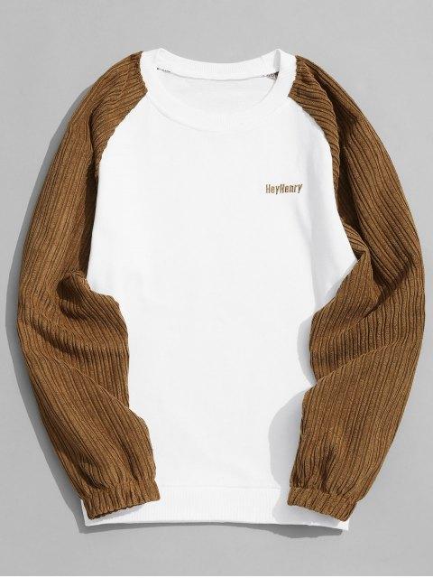 Sweat-shirt à col rond en velours côtelé - Blanc M Mobile