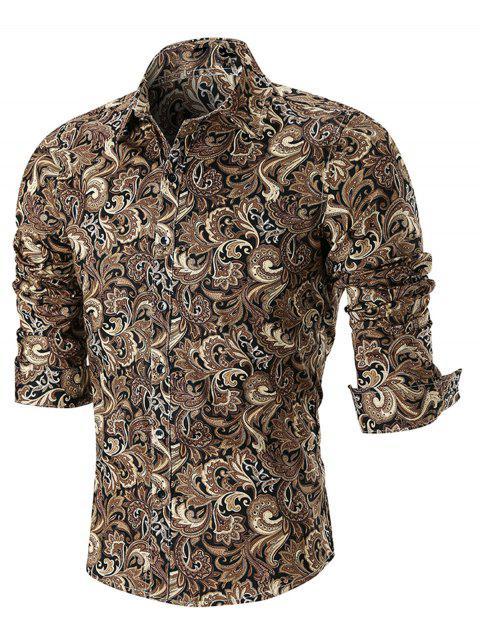 Langärmliges Hemd mit abgerundetem Saum und Paisley-Print - Khaki XL  Mobile