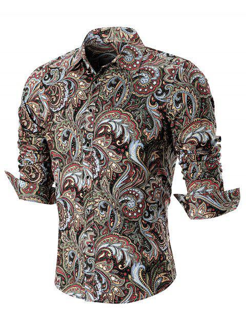 Camisa de manga larga con estampado de paisley curvo dobladillo - Marrón 2XL Mobile