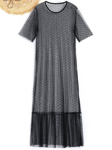 Robe de Plage Longue Transparente en Maille - Noir S Mobile